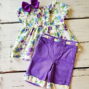 Purple outfit & matching hair bow